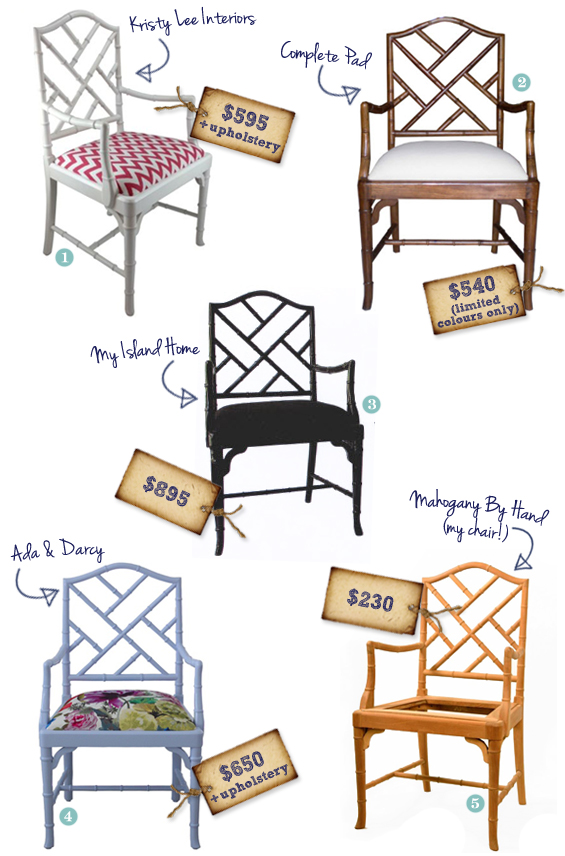 Bamboo Chippendale Armchairs