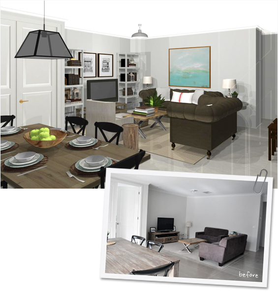 Before and After Virtual Room Makeover