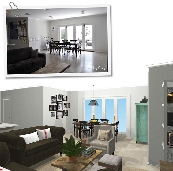 Room Makeover Before and After 3D Rendering