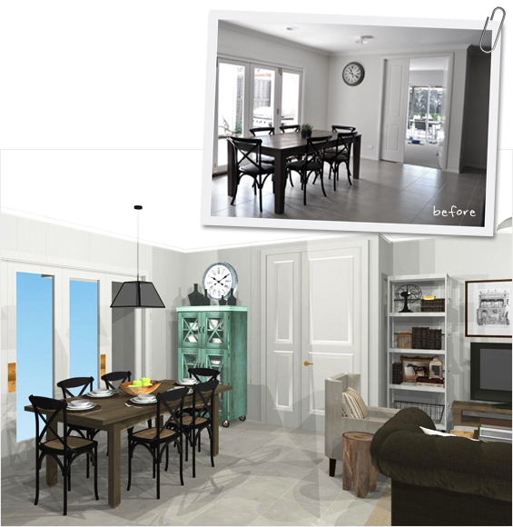 Room Makeover Before and After Virtual Rendering
