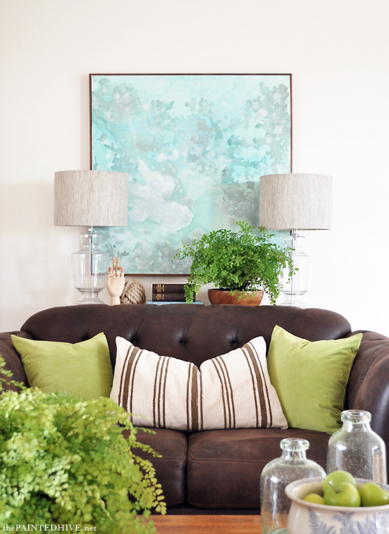 Sofa Table Styling with Green Cushions