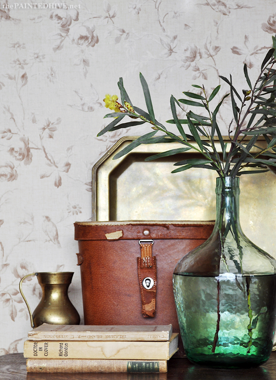 Vintage Vignette with Brass, Leather and Seagreen Demijohn | The Painted Hive