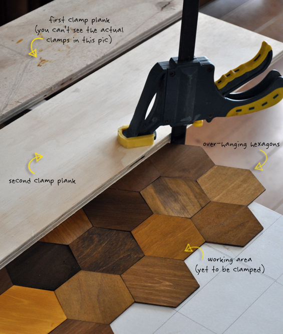 Attaching Hexagon Parquetry