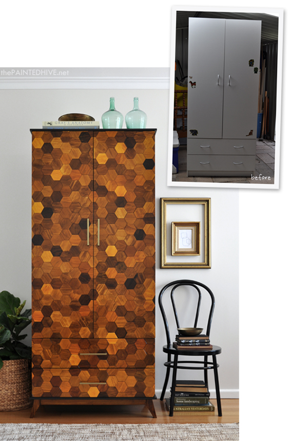 DIY Parquetry Laminate Armoire | The Painted Hive