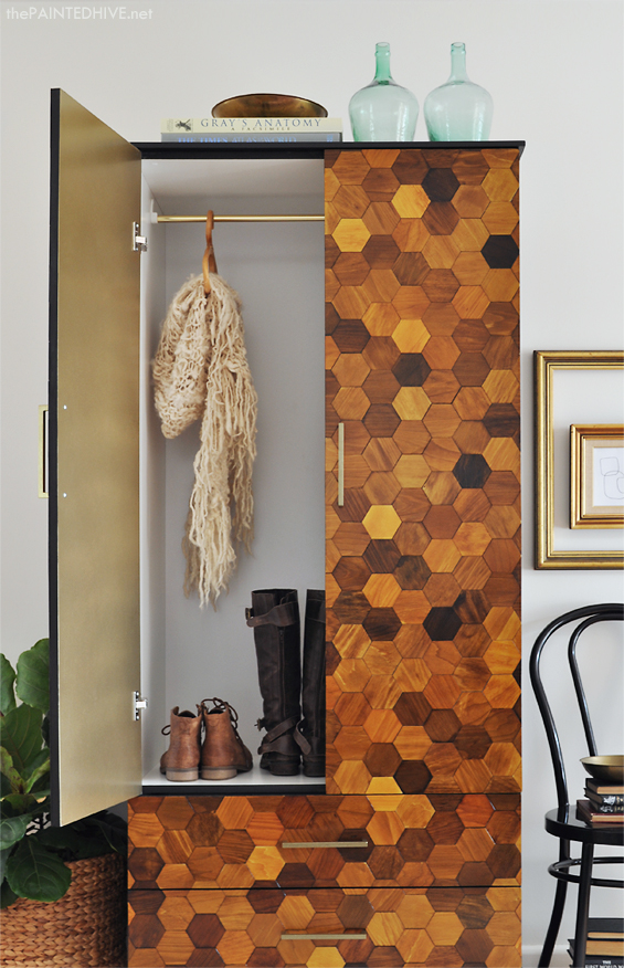 DIY Hexagon Armoire Interior with a Pop of Gold | The Painted Hive