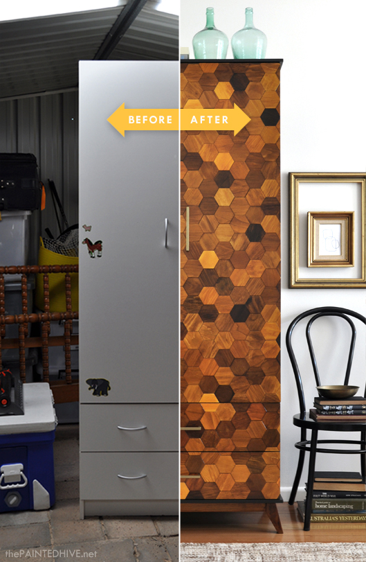Laminate Armoire Transformed with DIY Wood &quotTiling&quot | The Painted Hive