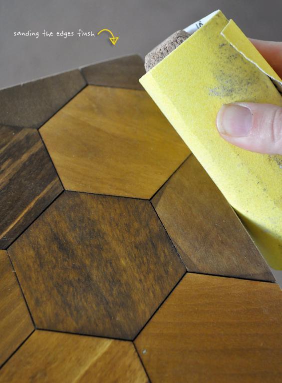 Sanding the Hexagons