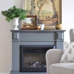 "Easy DIY ""Marble"" Hearth…and a fireplace makeover"
