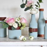 Trash to Treasure Vases…using Old Food Jars & Vintage Handbag Straps!
